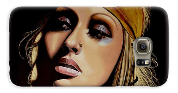 Christina Aguilera Painting Galaxy S6 Case by Paul Meijering
