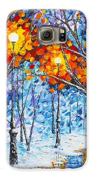 Galaxy S6 Case featuring the painting  Silence Winter Night Light Reflections Original Palette Knife Painting by Georgeta Blanaru