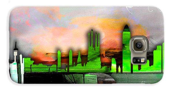 Barcelona Spain Skyline Watercolor Galaxy S6 Case
