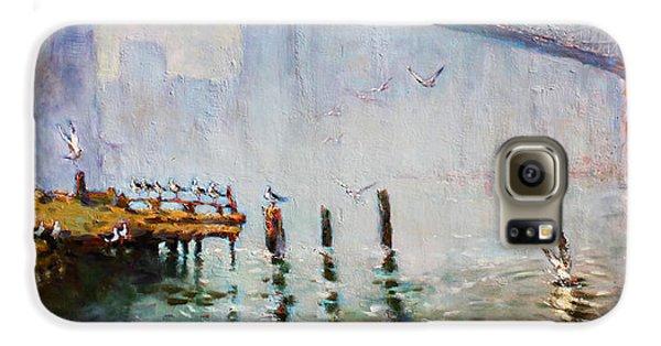 Seagull Galaxy S6 Case - Brooklyn Bridge In A Foggy Morning   by Ylli Haruni