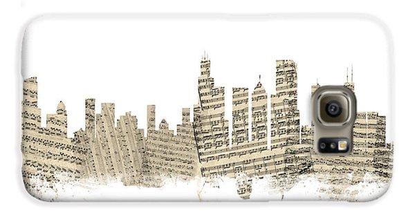 Chicago Illinois Skyline Sheet Music Cityscape Galaxy S6 Case by Michael Tompsett