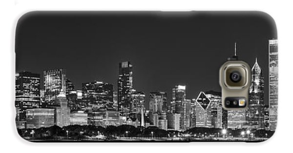 Chicago Skyline At Night Black And White Panoramic Galaxy S6 Case by Adam Romanowicz