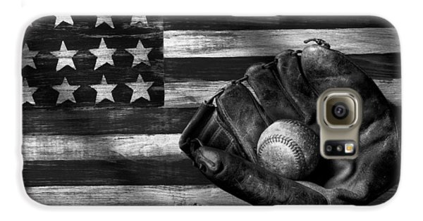 Folk Art American Flag And Baseball Mitt Black And White Galaxy S6 Case by Garry Gay