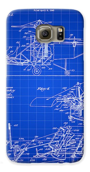Helicopter Galaxy S6 Case - Helicopter Patent 1940 - Blue by Stephen Younts