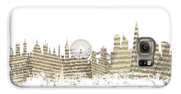 London England Skyline Sheet Music Cityscape Galaxy S6 Case by Michael Tompsett
