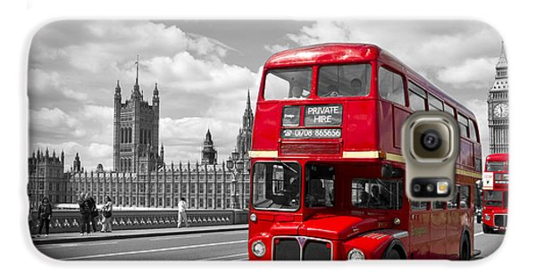 London Galaxy S6 Case - London - Houses Of Parliament And Red Buses by Melanie Viola