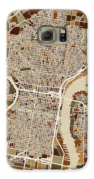 Philadelphia Pennsylvania Street Map Galaxy S6 Case by Michael Tompsett