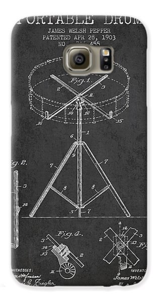Drum Galaxy S6 Case - Portable Drum Patent Drawing From 1903 - Dark by Aged Pixel