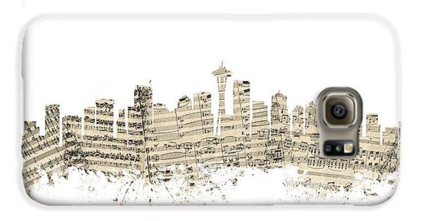 Seattle Washington Skyline Sheet Music Cityscape Galaxy S6 Case by Michael Tompsett