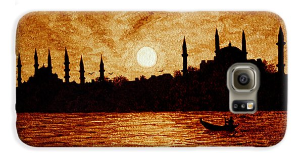 Galaxy S6 Case featuring the painting Sunset Over Istanbul Original Coffee Painting by Georgeta  Blanaru