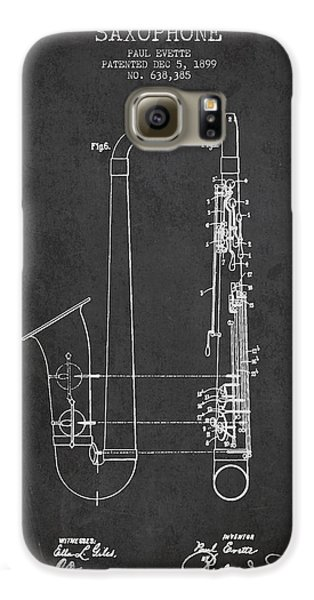 Saxophone Patent Drawing From 1899 - Dark Galaxy S6 Case by Aged Pixel
