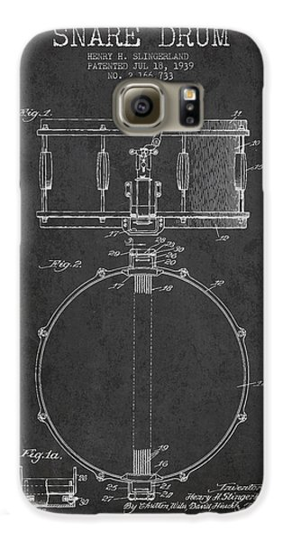 Drum Galaxy S6 Case - Snare Drum Patent Drawing From 1939 - Dark by Aged Pixel