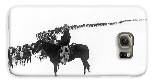 Cow Galaxy S6 Case - Wintertime Cattle Drive by Underwood Archives  Charles Belden