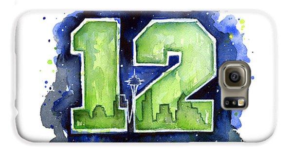 Seattle Galaxy S6 Case - 12th Man Seahawks Art Seattle Go Hawks by Olga Shvartsur