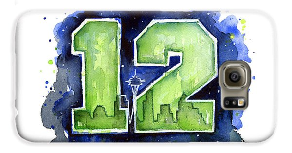 12th Man Seahawks Art Seattle Go Hawks Galaxy S6 Case by Olga Shvartsur
