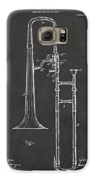 Trombone Galaxy S6 Case - 1902 Slide Trombone Patent Artwork - Gray by Nikki Marie Smith