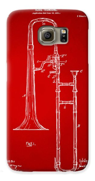 Trombone Galaxy S6 Case - 1902 Slide Trombone Patent Artwork Red by Nikki Marie Smith