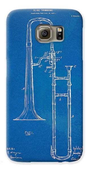 Trombone Galaxy S6 Case - 1902 Slide Trombone Patent Blueprint by Nikki Marie Smith