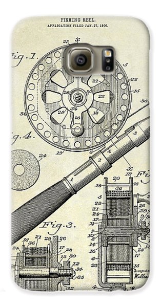 Largemouth Bass Galaxy S6 Case - 1906 Fishing Reel Patent Drawing by Jon Neidert