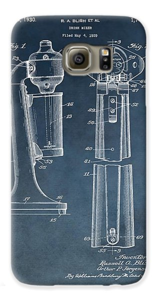 1930 Drink Mixer Patent Blue Galaxy S6 Case by Dan Sproul