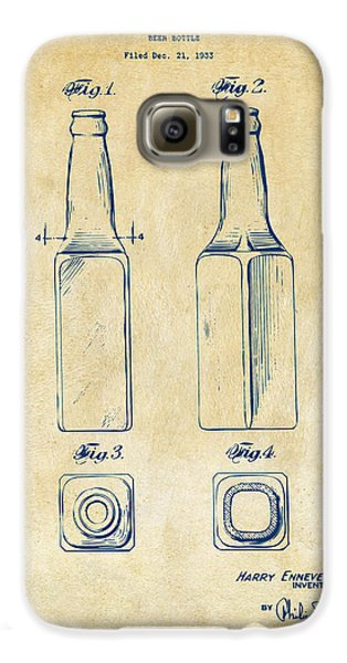 1934 Beer Bottle Patent Artwork - Vintage Galaxy S6 Case by Nikki Marie Smith