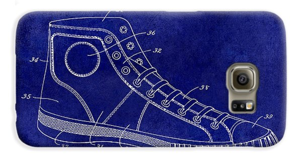 1934 Converse Shoe Patent Drawing Blue Galaxy S6 Case by Jon Neidert