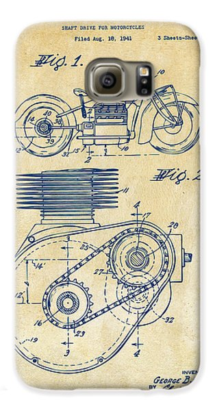 1941 Indian Motorcycle Patent Artwork - Vintage Galaxy S6 Case by Nikki Marie Smith