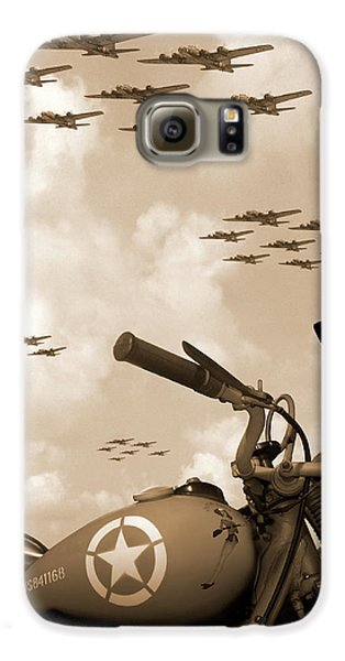 Motorcycle Galaxy S6 Case - 1942 Indian 841 - B-17 Flying Fortress' by Mike McGlothlen