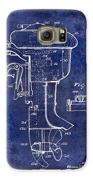 1947 Outboard Motor Patent Drawing Blue Galaxy S6 Case