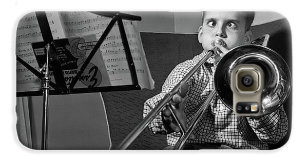 Trombone Galaxy S6 Case - 1950s Funny Cross-eyed Boy Playing by Vintage Images