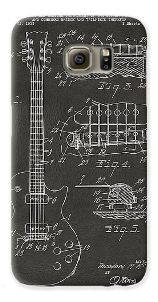 Guitar Galaxy S6 Case - 1955 Mccarty Gibson Les Paul Guitar Patent Artwork - Gray by Nikki Marie Smith