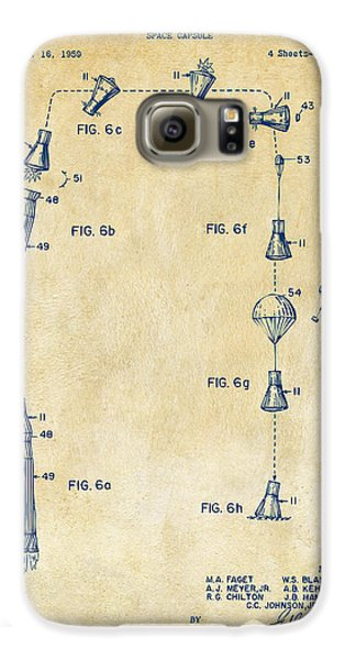 1963 Space Capsule Patent Vintage Galaxy S6 Case by Nikki Marie Smith