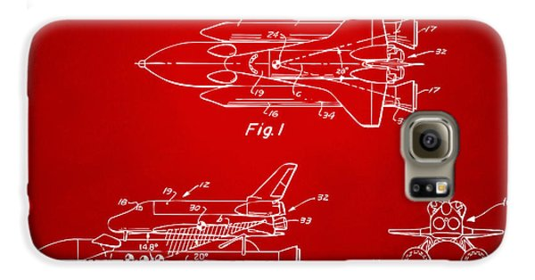 Space Ships Galaxy S6 Case - 1975 Space Shuttle Patent - Red by Nikki Marie Smith