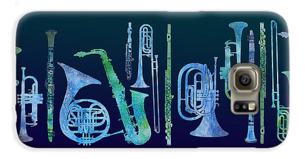 Trombone Galaxy S6 Case - Cool Blue Band by Jenny Armitage