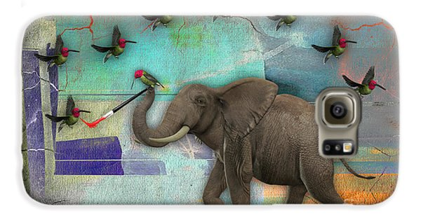 Elephant Painting Birds Out Of Thin Air. Galaxy S6 Case