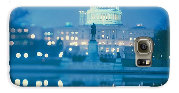 Government Building Lit Up At Night Galaxy S6 Case by Panoramic Images