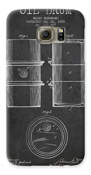 Drum Galaxy S6 Case - Oil Drum Patent Drawing From 1905 by Aged Pixel