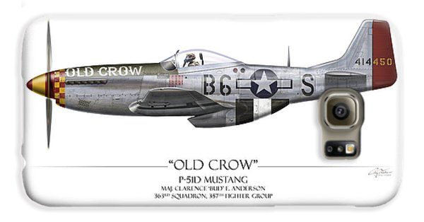 Airplane Galaxy S6 Case - Old Crow P-51 Mustang - White Background by Craig Tinder
