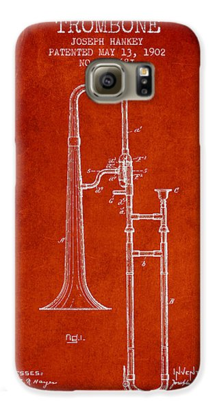 Trombone Galaxy S6 Case - Trombone Patent From 1902 - Red by Aged Pixel
