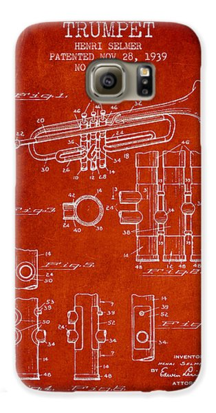 Trumpet Patent From 1939 - Red Galaxy S6 Case by Aged Pixel