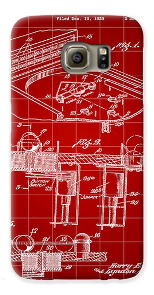 Pinball Machine Patent 1939 - Red Galaxy S6 Case by Stephen Younts