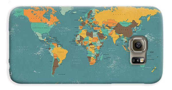 Retro Political Map Of The World Galaxy S6 Case by Michael Tompsett