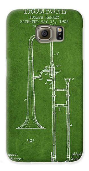 Trombone Galaxy S6 Case - Trombone Patent From 1902 - Green by Aged Pixel