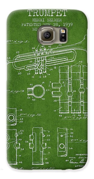 Trumpet Patent From 1939 - Green Galaxy S6 Case by Aged Pixel
