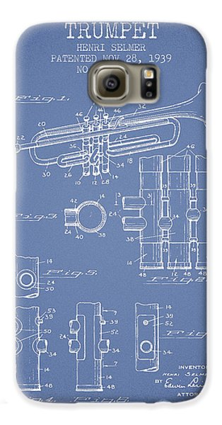 Trumpet Patent From 1939 - Light Blue Galaxy S6 Case by Aged Pixel