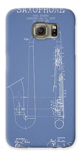 Saxophone Patent Drawing From 1899 - Light Blue Galaxy S6 Case by Aged Pixel