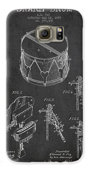 Drum Galaxy S6 Case - Vintage Snare Drum Patent Drawing From 1889 - Dark by Aged Pixel