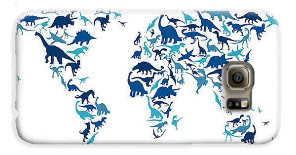 Extinct And Mythical Galaxy S6 Case - Dinosaur Map Of The World Map by Michael Tompsett