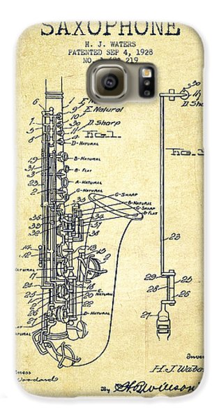Saxophone Galaxy S6 Case - Saxophone Patent Drawing From 1928 by Aged Pixel