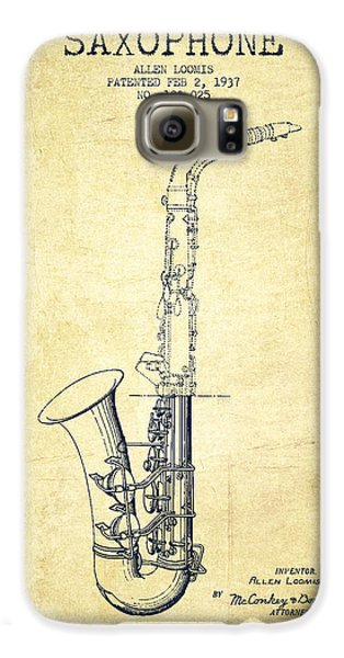 Saxophone Patent Drawing From 1937 - Vintage Galaxy S6 Case by Aged Pixel